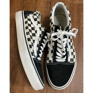 VANS Old Skool Checker Canvas Low Top Shoes 10.5